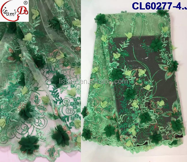 CL60277 2016 sequins High quality fashion french lace fabric green wedding dress fabric 3D tassel lace for Garment