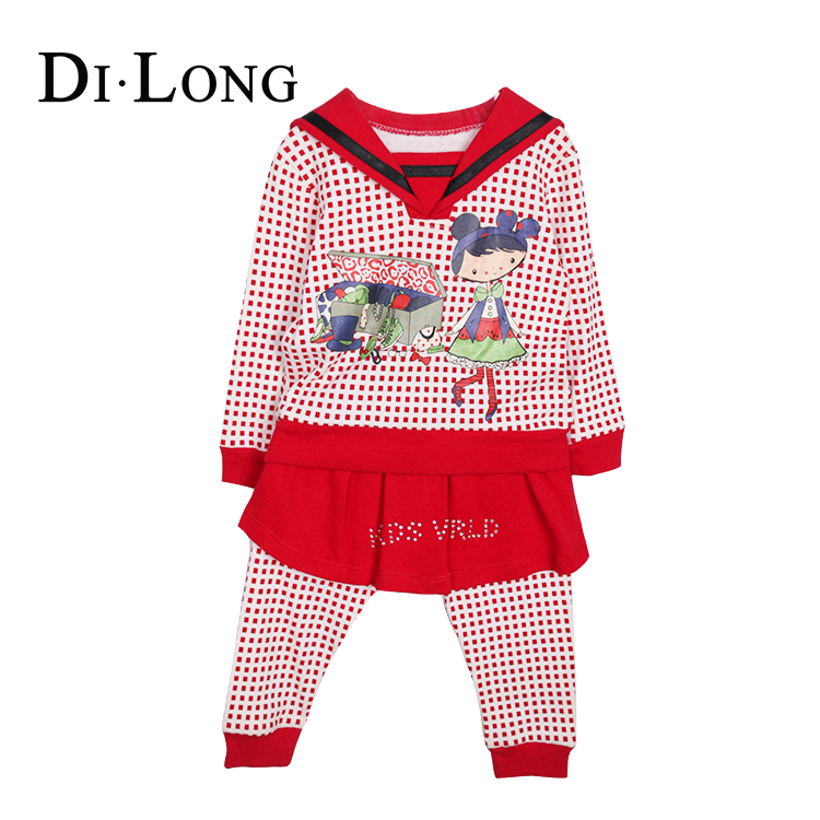 Children Girl Kids Fancy Red Cartoon Dress Children Clothing Set