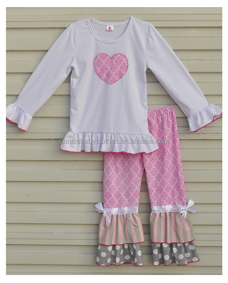 Beautiful Girls Boutique Clothing Heart Shaped White Top Pink Ruffles Pants Children Knitted Cotton Outfits