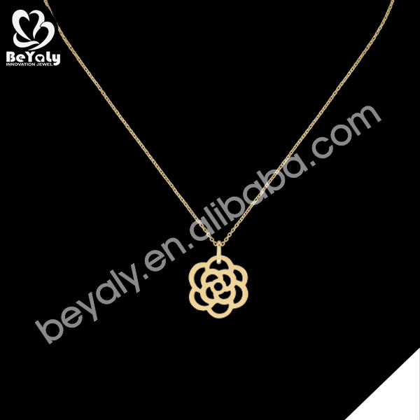 Single flower drop silver fashion fake gold necklace