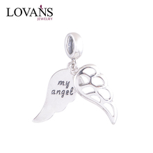 Engraved My Angel 925 Silver Angel Wing Charms Wholesale S092