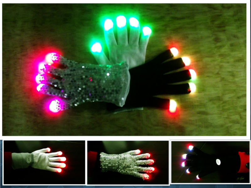 Led lgiht up gloves ,can lighting up the dark night