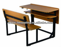 Education furniture wooden school desk with bench FM-A-100