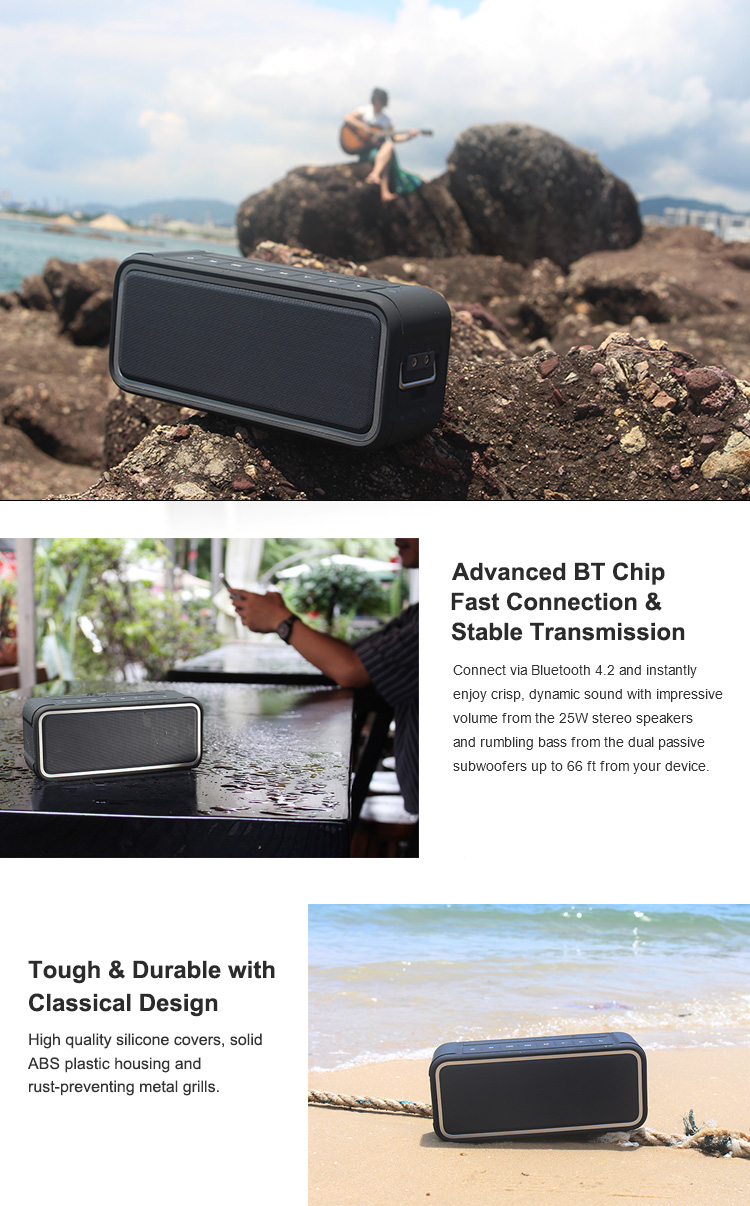High Quality 25W IPX7 Waterproof Bluetooth Speakers With DSP