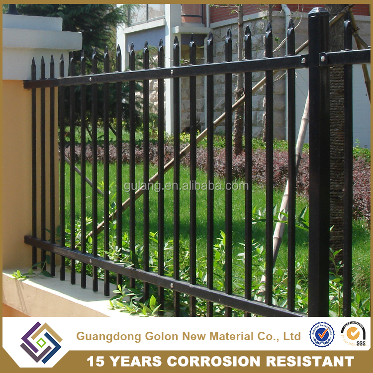 Alibaba black powder coat fence, wrought iron fence spear points