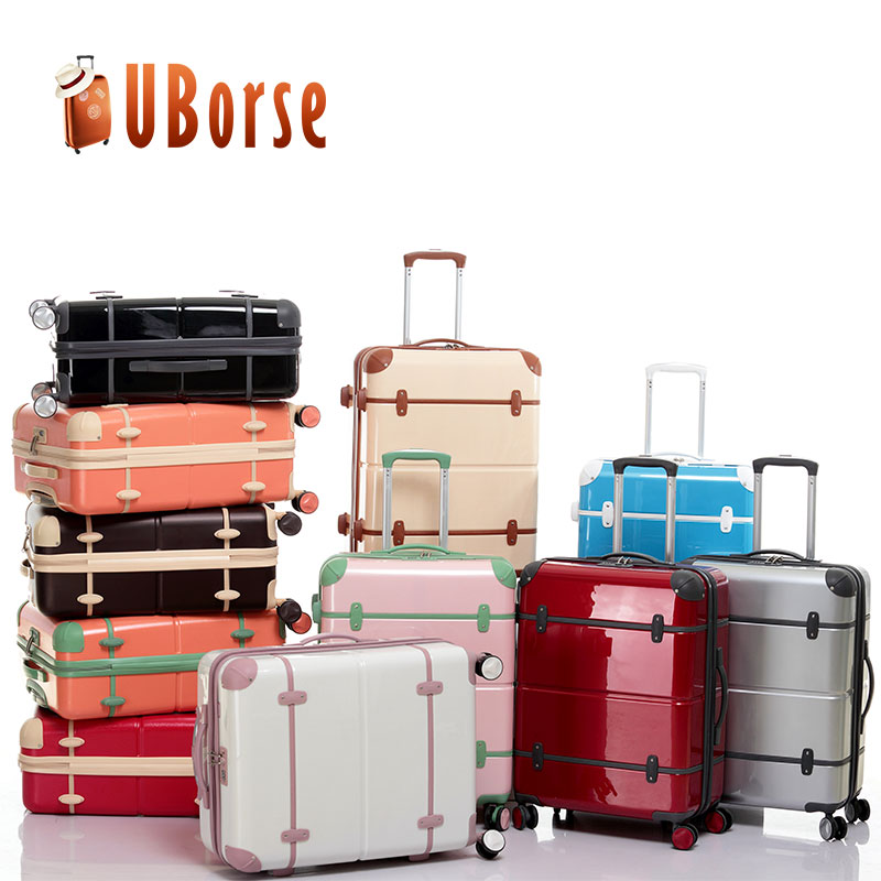 ABS+PC Suitcase Plastic Hard Shell Trolley Suitcase Luggage Set With TSA Lock and Aluminium Trolley