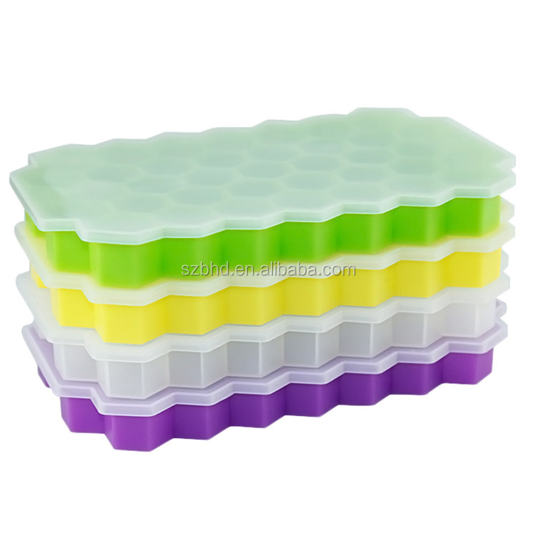 BPA free Honeycomb Soft Silicone Ice Cube Tray For Making Grand Square Pattern Ice