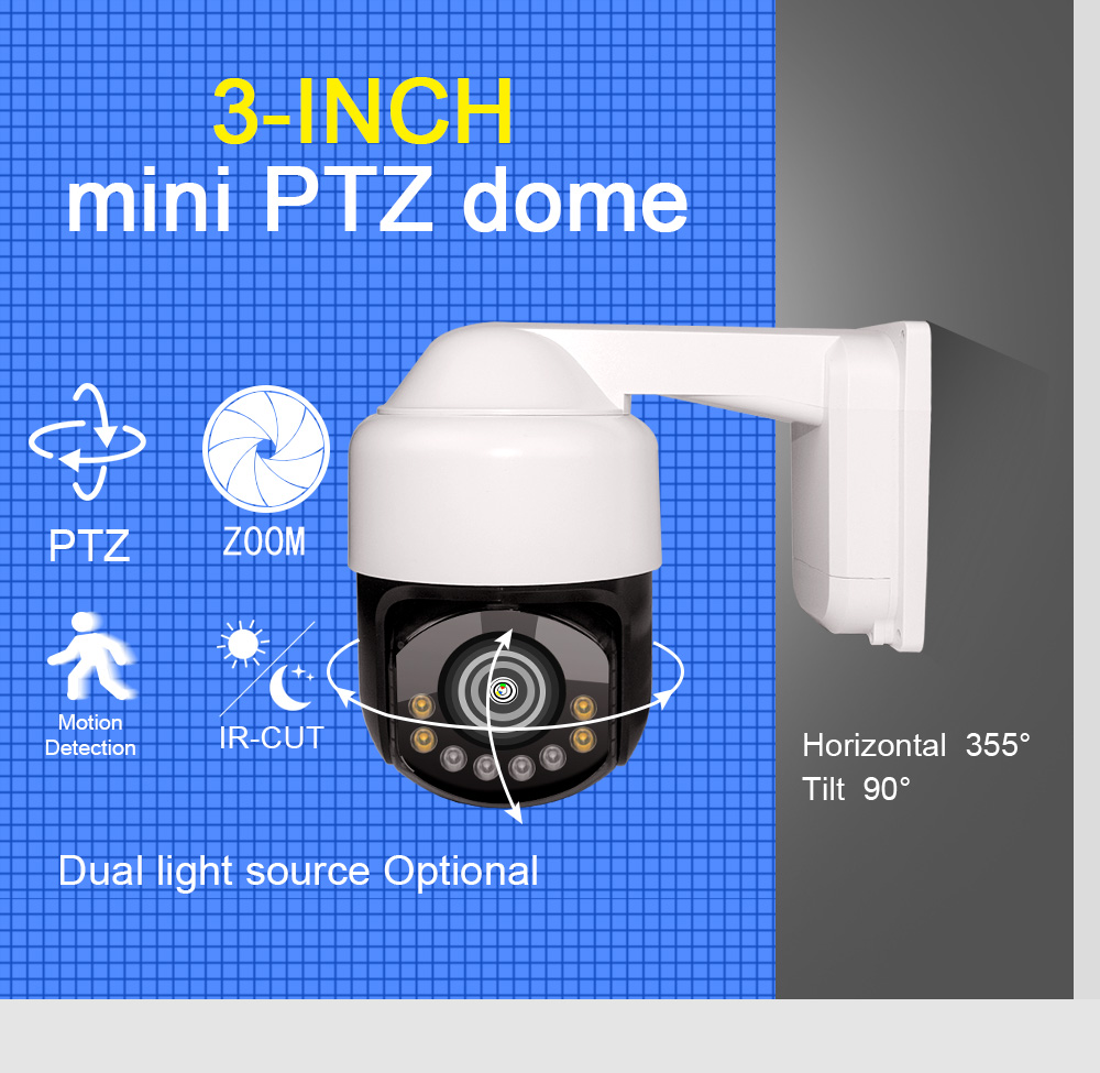Mini style  outdoor 2MP 3 inch full HD IR IP  PTZ dome CCTV  camera