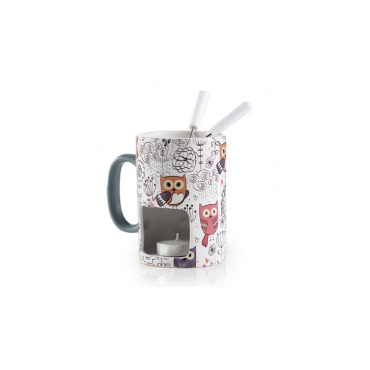 Fancy owl design colorful candle chocolate mugs candle ceramic fondue with handle