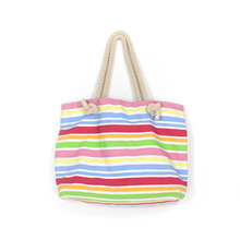 Colorful Strips Large Capacity Rainbow Canvas Wholesale Beach Bags