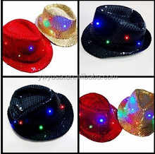 2015 Fashion Party Light Jazz Hat Caps With Led Light Sequin hat Halloween hat
