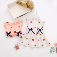 Baby Girl Summer Sweet Dress Kids Cotton Embroidery Short Sleeves Dress