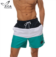 Men Summer Spliced Color Swim Shorts Quick Dry Beach Trunk Shorts