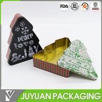 Vintage festival design christmas tree shaped gift storage tin box whole sale