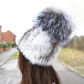CX-C-16E Women Winter Warm Knitted Mink Fur Hat With Fur Pom Poms