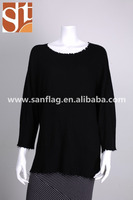 Alibaba online shopping sales popular ladies' round neck long sleeve pullover knitted sweater with broken effect