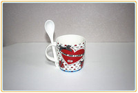 12oz red heart shape ceramic coffee mug with spoon in handle