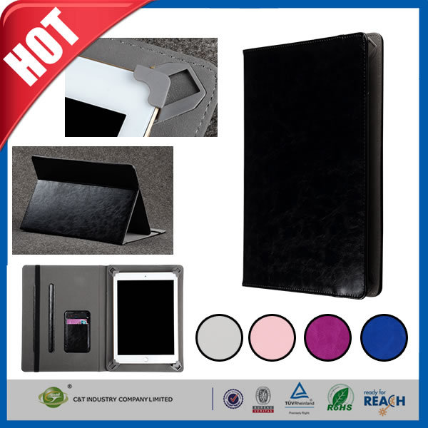 C&T Hand Made Genuine soft leather card wallet folio tablet for ipad mini 3 smart case