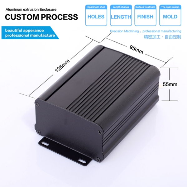 YGS-006 95*55-120mm with L panel power supply brushed aluminium enclosure housing black project box in black color for pcb