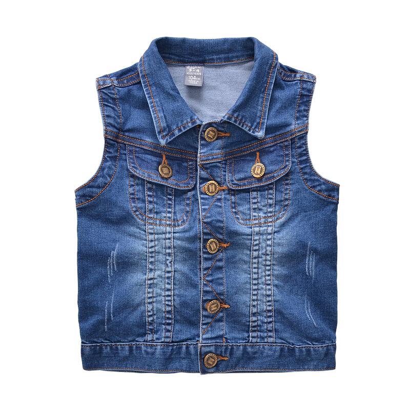 Fashion Vest 2017 kids denim jacket boys denim waistcoat