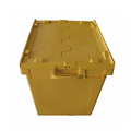 Plastic storage turnover box with attached lids for packing and storage
