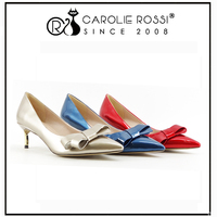 custom brand korean reservation design gold chunky heels with bow