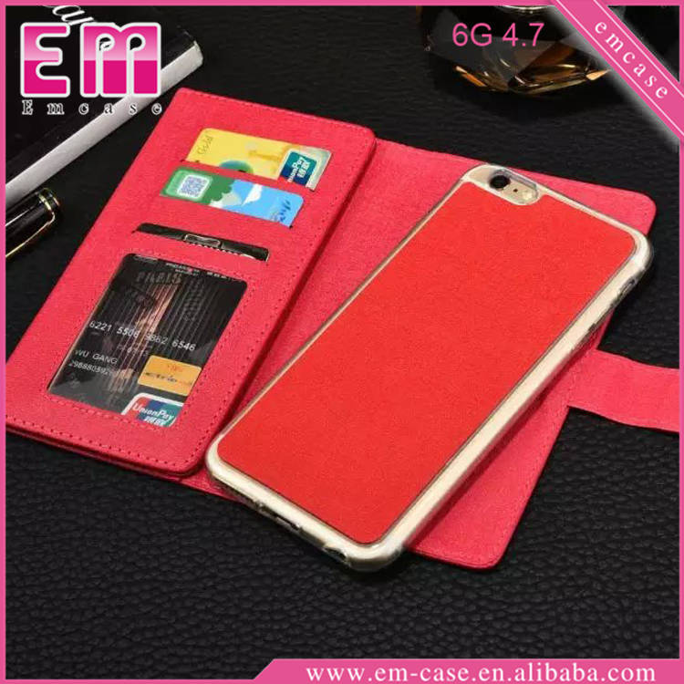 2IN1 Multifunction Card Slot Flip Wallet Leather Case For iPhone 6 / 6 Plus
