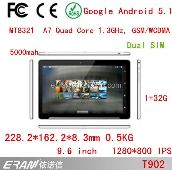 "9.6"" Quad core Android 5.1 calling tablet with 1280*800 IPS support dual SIM card"