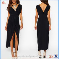 Latest New Design V Neck And Sexy Indian Prom Dress Black Long Dresses For Women