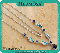 IN STOCK Elegant 925 Sterling Silver Blue Australian Opal Topaz New Design Long Chain Fashion Necklace