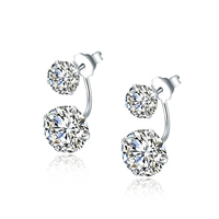 double sided 925 silver fashion earring designs crystal earring