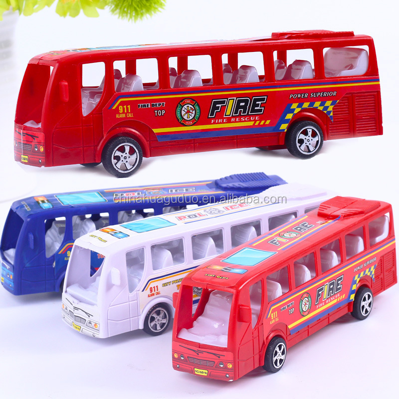 Ex-factory price friction car toy for kids indoor play mini car toys colorful plastic model bus