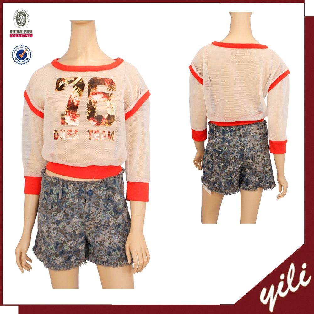 latest designer lady transparent blouse printed mesh tops for woman