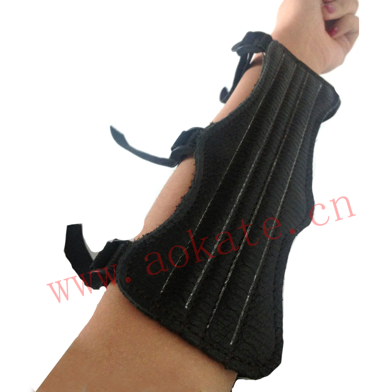 OEM 3-strap leather archery and hunting arm guard , forms to the arm for a great fit