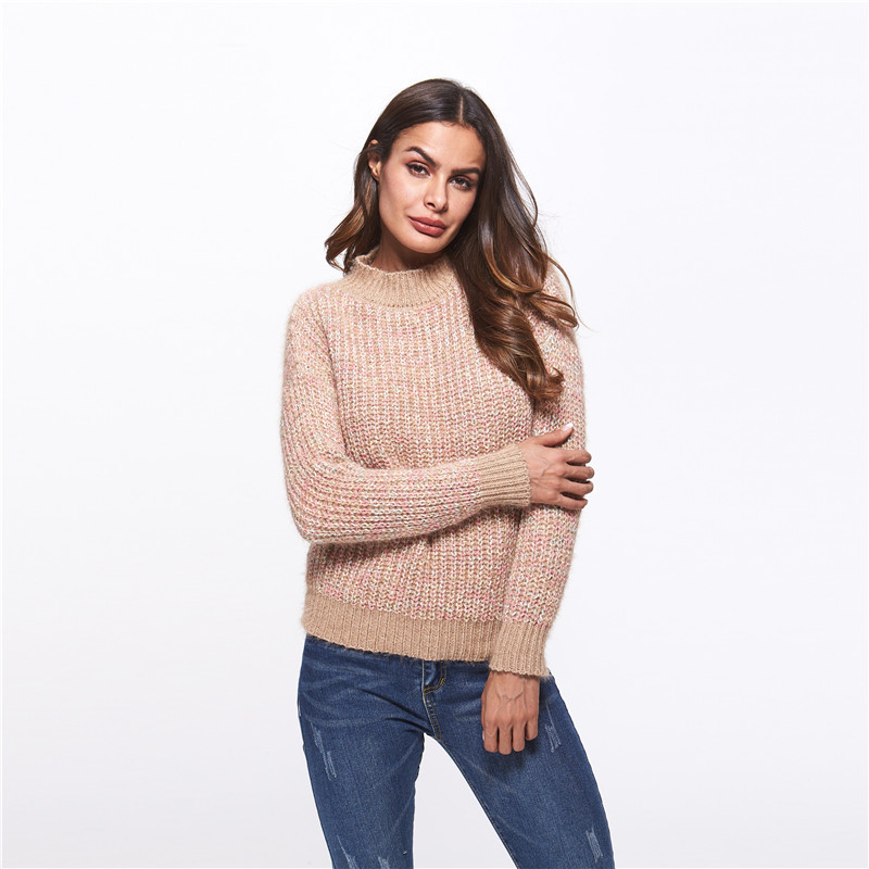 Colorful Knitting 2018 Autumn Long Sleeve Ladies Shaker Knit Sweater Fashion Blouse Women Sweater