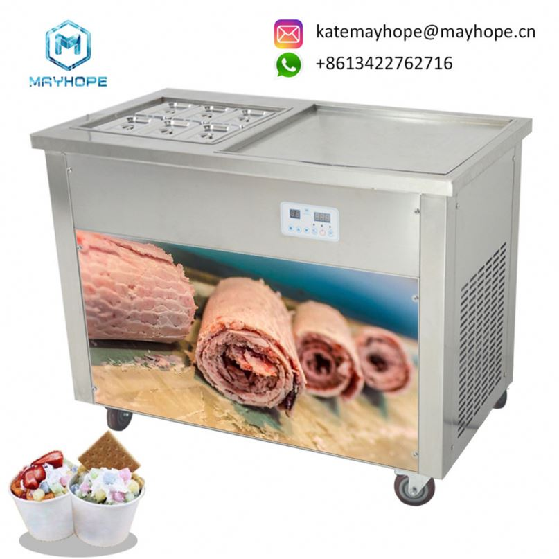 Easy To Wash Cooling Faster Roll Flat Pan Thailand Fry Ice Cream Machine /Fried Ice Cream Roll Machine/ Flat Pan Fry Ice Cream <strong>M</strong>