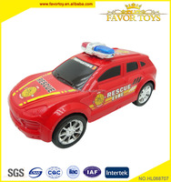 Eco-friendly cheap plastic toy friction fire rescue police car with EN71