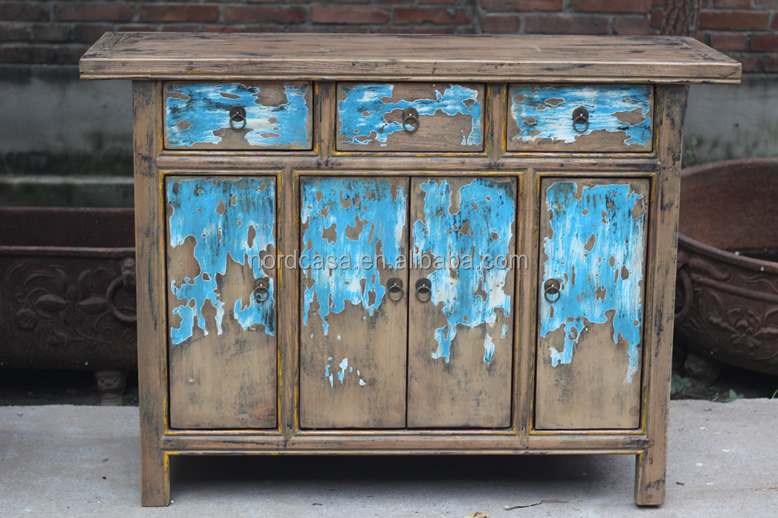 Chinese style antique hand painted furniture living room side cabinet