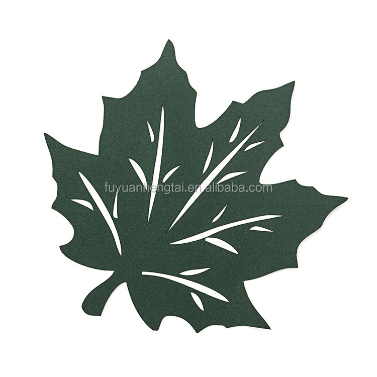 2017 new design leaf pattern felt cup coasters and felt mat custom-made sizes and color