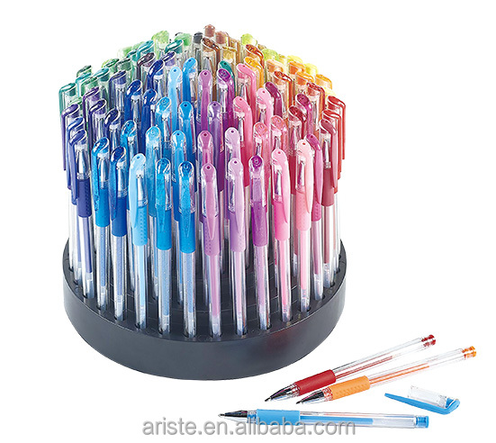 23615 100pcs glitter color gel pen set in rotatable stand with pvc bucket