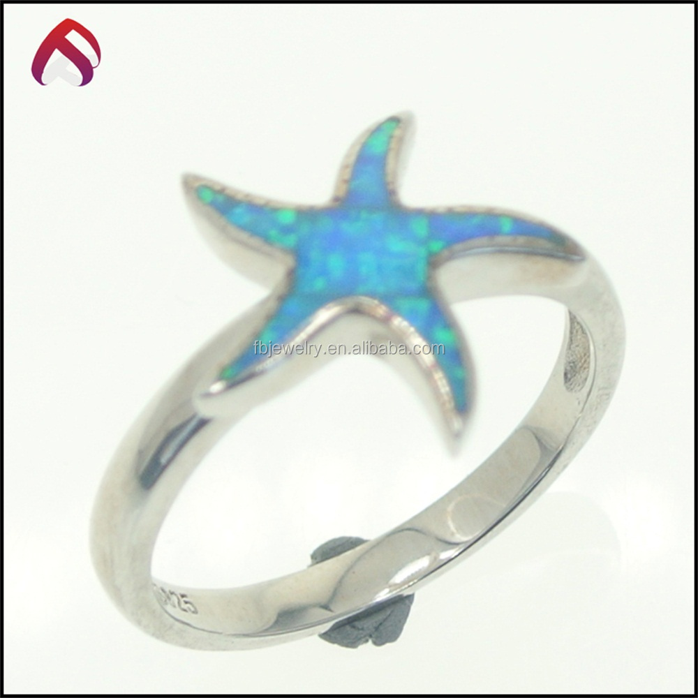 Fashion cute star blue opal ring