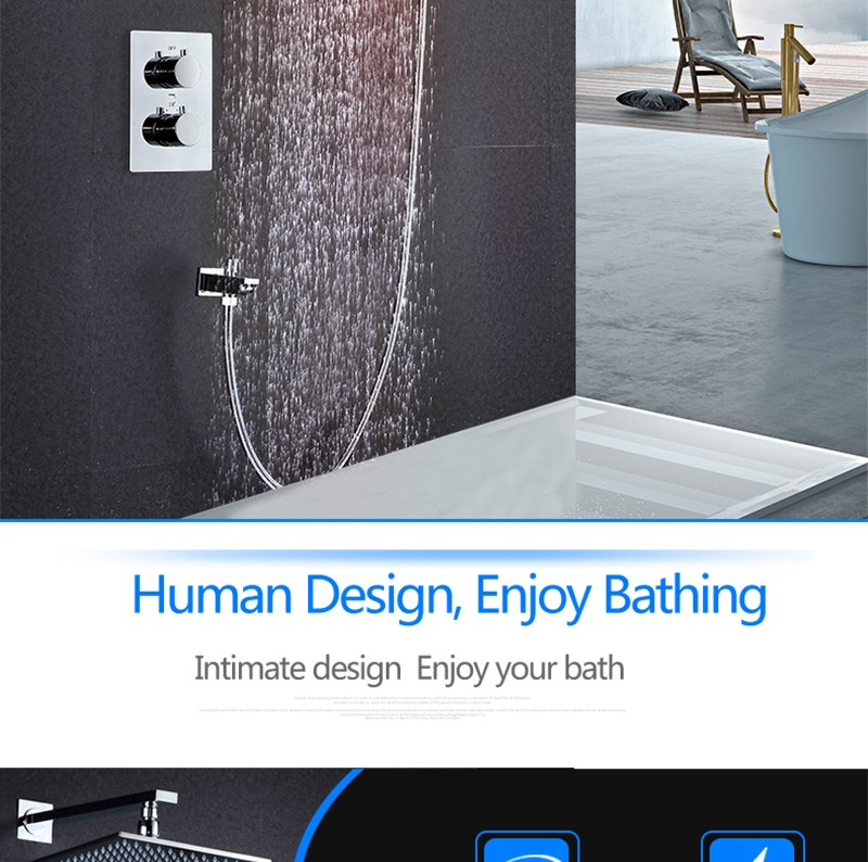 hm bath shower,2 way thermostat mixer wall shower set with led