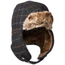 Thick melton wool plush lining men cold winter caps with earflap