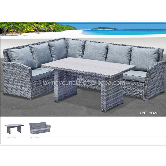 poly rattan garden furniture corner sofa set wide flat rattan with 5mm round rattan polywood table top UNT-R-1132G