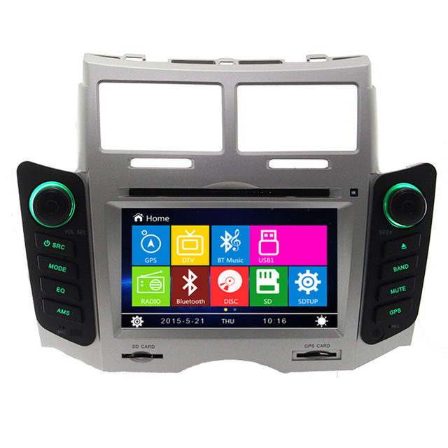 Car DVD player For Toyota Yaris 2005 2006 2007 2008 2009 2010 2011 GPS navigation System Bluetooth Ipod TV Silver