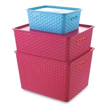 oem home pp storage container,color plastic wicker baskets with lid