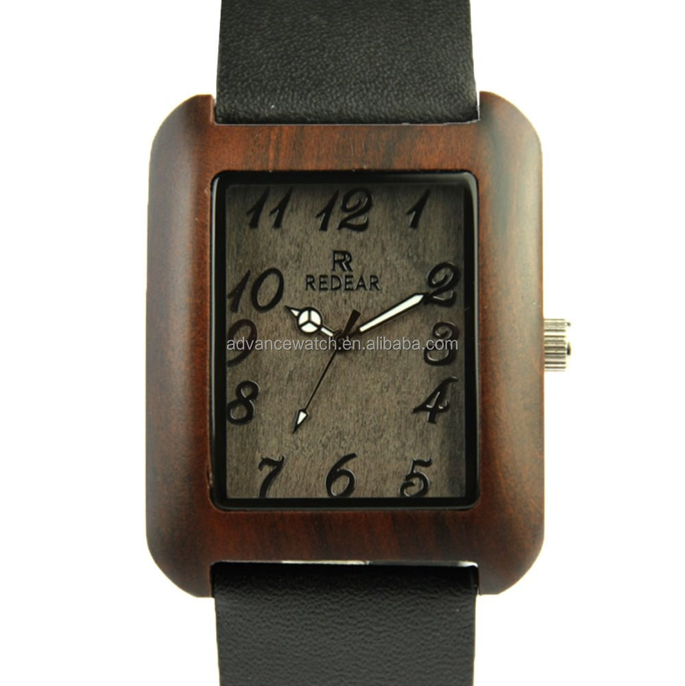 High quality Big Dial Watches square Leather Band Imitate Bamboo Wood Watches