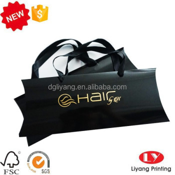Hot sale Black Paper hair extension packaging pillow box with ribbon handle and gold embossed stamping logo