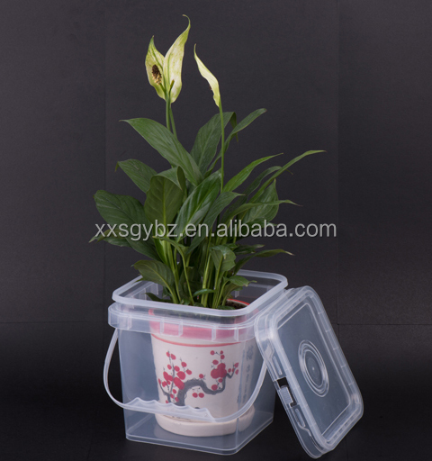 2L square plastic clear bucket