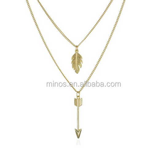 Fashion Jewelry Fletching Feather and Arrow Layered Necklace